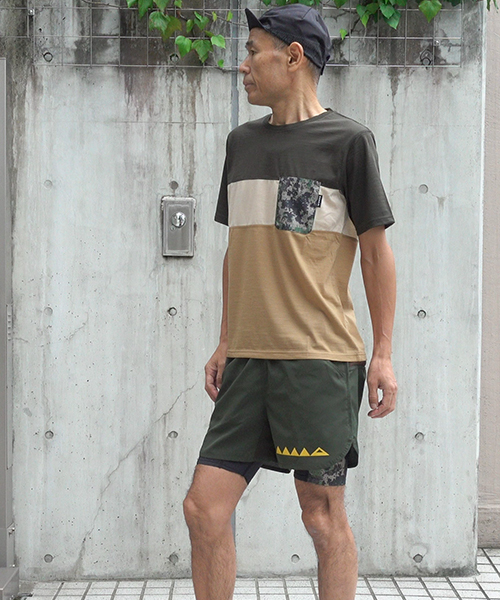 3tone Mountain Wool Pocket Tee Green