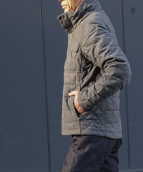 UTILITY WOOL DOWN JACKET CAPE HEATHER